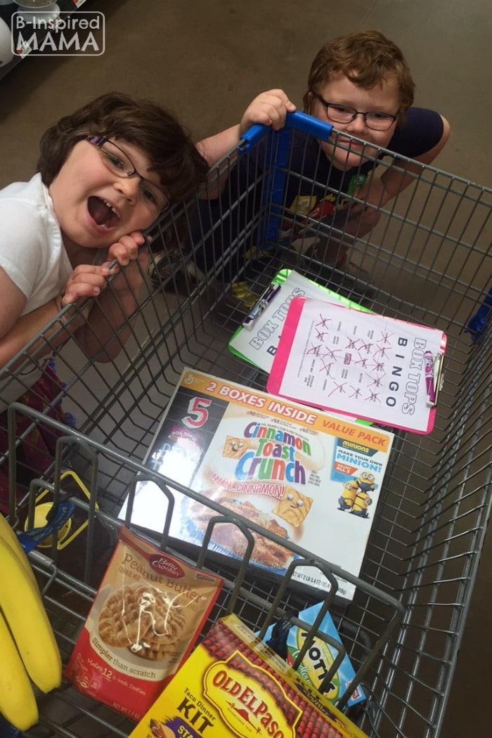 Box Tops Bingo Grocery Shopping Game - The Kids Shopping at Walmart - at B-Inspired Mama