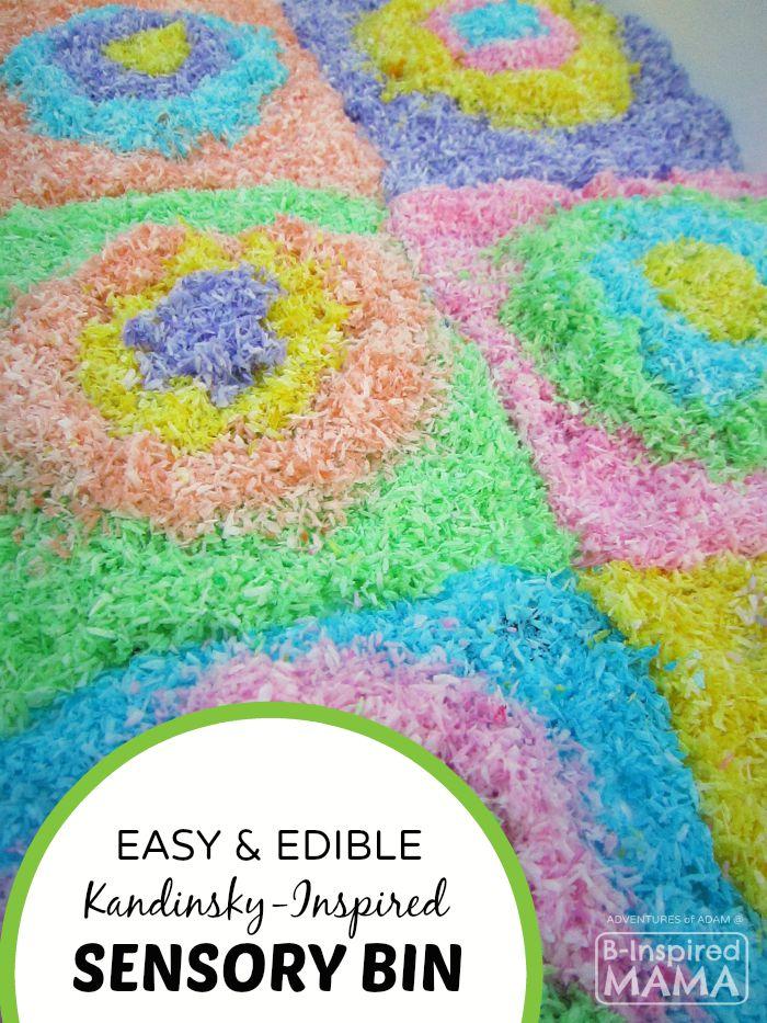 Easy and Edible Kandinsky-Inspired Sensory Bin - Art History Inspired Sensory Play - B-Inspired Mama