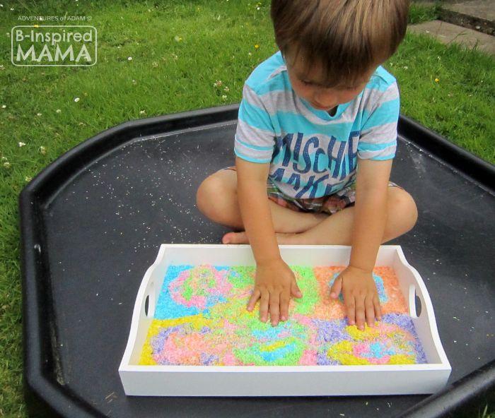 Edible Kandinsky-Inspired Sensory Bin - Sensory Play Outside on the Tuff Spot Tray - B-Inspired Mama