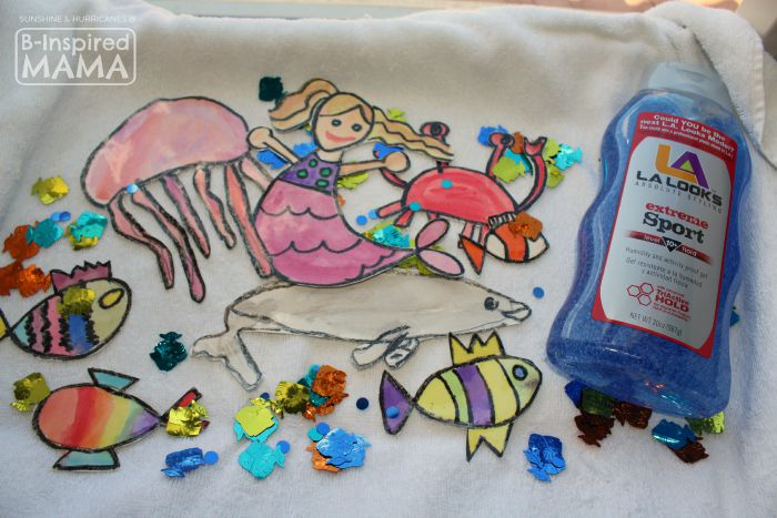 Sparkly Ocean Sensory Bag Craft for Kids - Ready to Fill It Up- at B-Inspired Mama