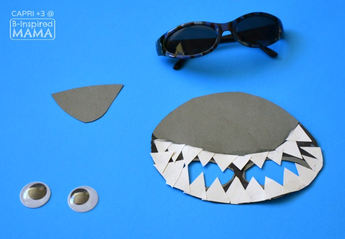 Super Cool Shark Mask Craft for Kids - Adding Teeth and Eyes - at B-Inspired Mama
