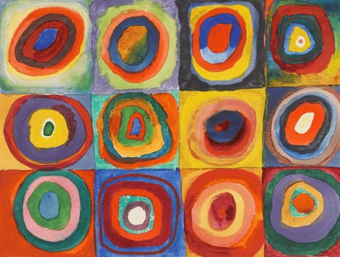 Wassily Kandinsky, 1913, Color Study: Squares with Concentric Circles