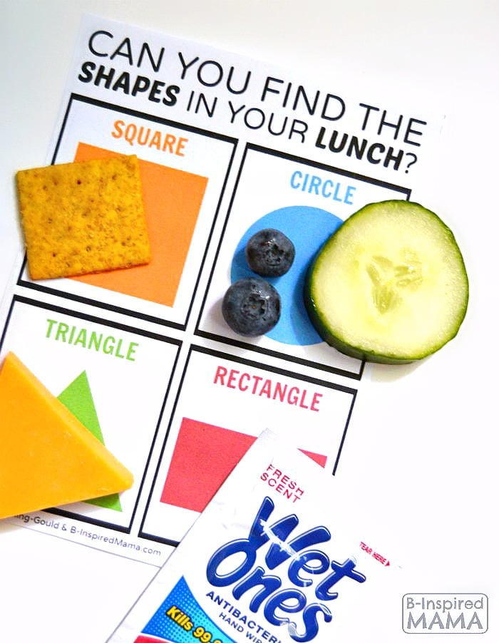 Easy and Fun Find the Shapes in Your Lunch - A Free Kids Lunch Box Printable at B-Inspired Mama