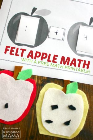 Felt Apple Math Activity + Free Math Printable at B-Inspired Mama