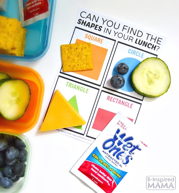 Find the Shapes in Your Lunch - A Free Kids Lunch Box Printable Learning Game at B-Inspired Mama