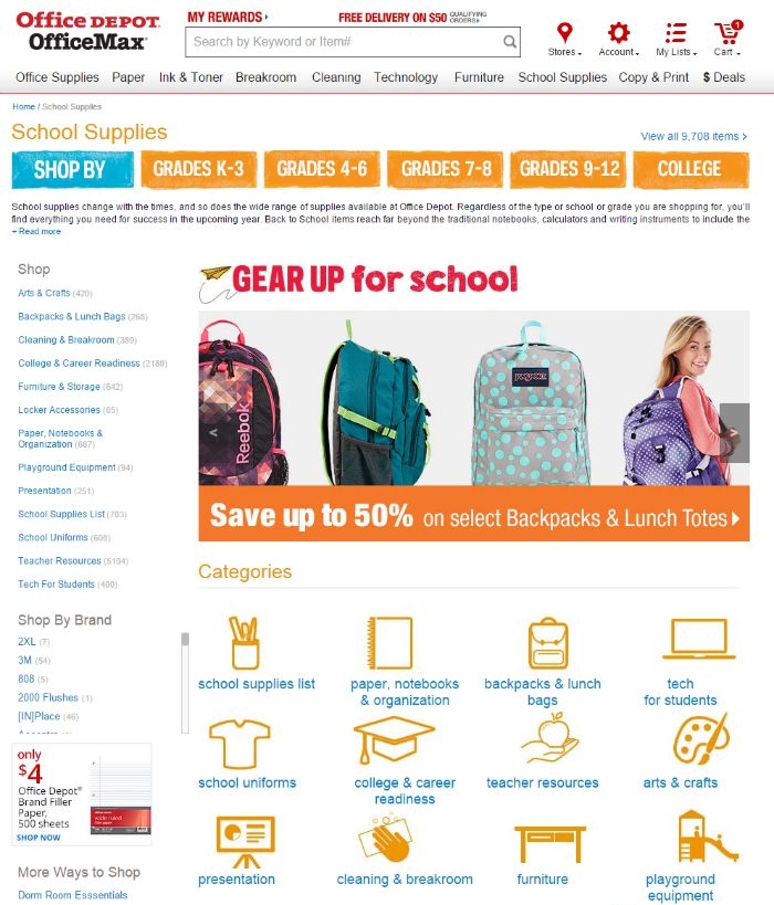 Office Depot's Gear Up for School Shopping Online + Our Small Home Homework Zone at B-Inspired Mama