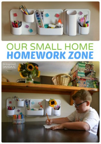 Our Small Home Homework Zone Solution - B-Inspired Mama