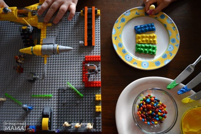 Playing LEGOs and Eating our LEGO Brick Snack - B-Inspired Mama
