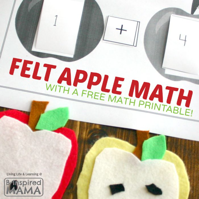 Simple Felt Apple Math Activity + Free Math Printable at B-Inspired Mama