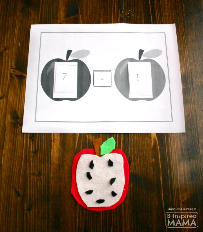 Simple Subtraction - A Felt Apple Math Activity + Free Math Printable at B-Inspired Mama