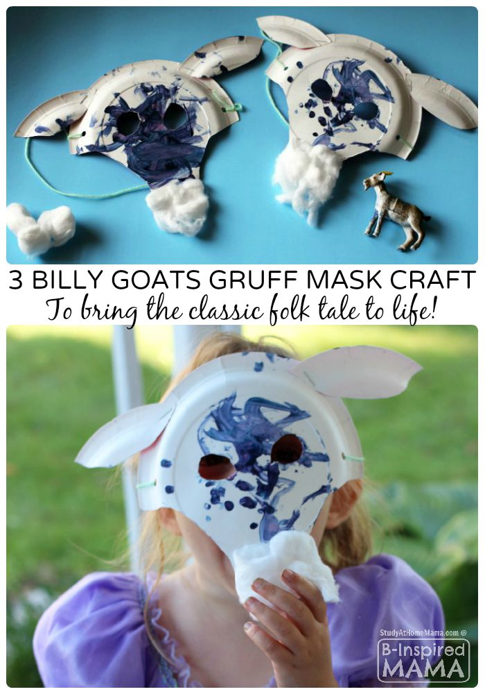 A Fun Three Billy Goats Gruff Paper Plate Mask Craft for Kids - B-Inspired Mama