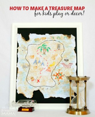 DIY Treasure Map for Kids - Perfect for Kids Play or Decor - at B-Inspired Mama