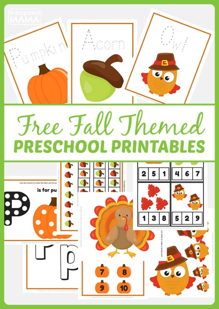 Super Cute - And Free! - Fall Themed Preschool Printables