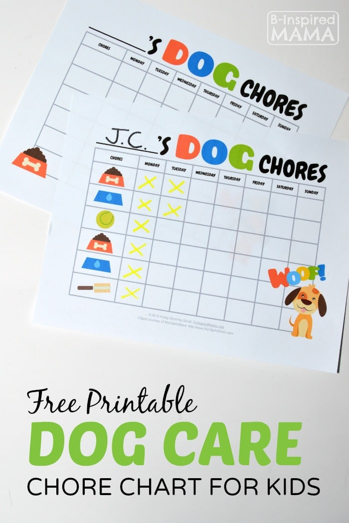 Free Printable Dog Care C Chart For Kids At B Inspired Mama