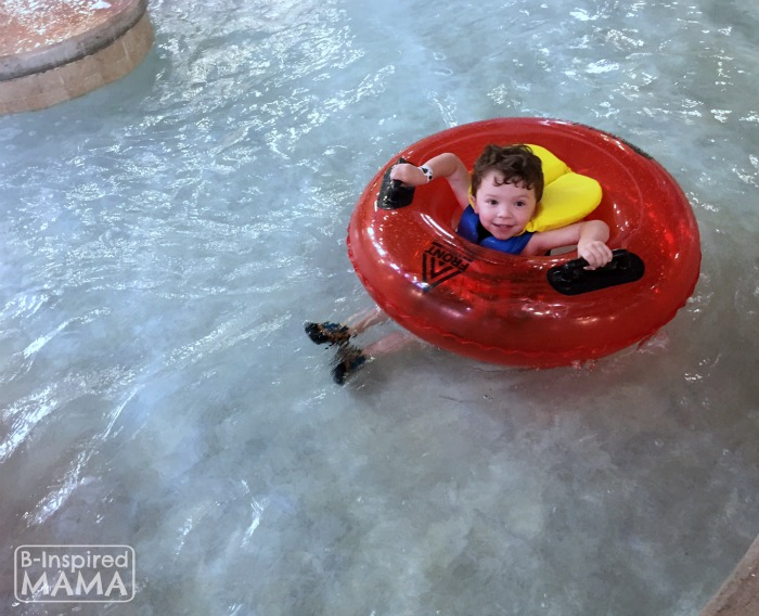 Our Kalahari Indoor Water Park Adventure - JC on the Mini Lazy River - at B-Inspired Mama