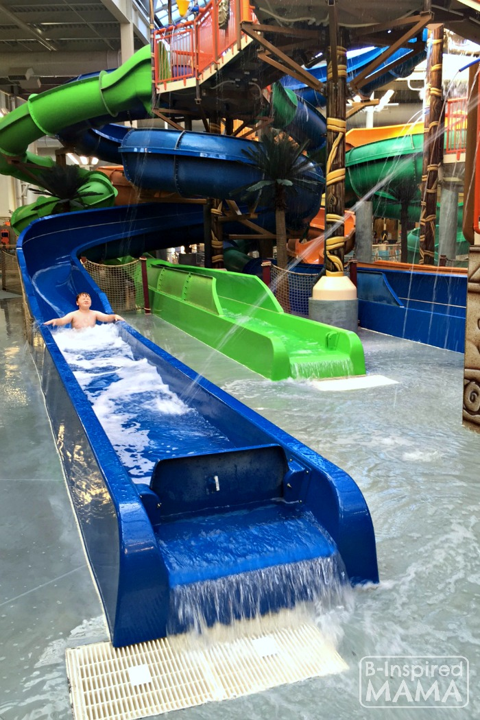 Our Kalahari Indoor Water Park Adventure - Sawyer on the Water Slides - at B-Inspired Mama