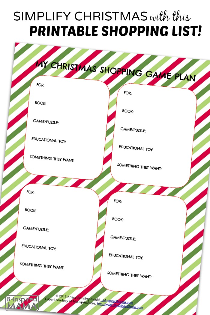 A Printable Christmas Shopping List - to Simplify the Holiday Season - at B-Inspired Mama