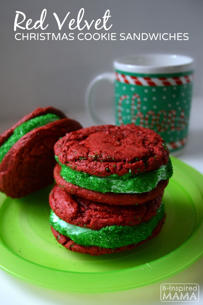 Easy Red Velvet Cake Mix Cookies for making festive Christmas Cookie Sandwiches - Perfect Cookies for Santa - at B-Inspired Mama