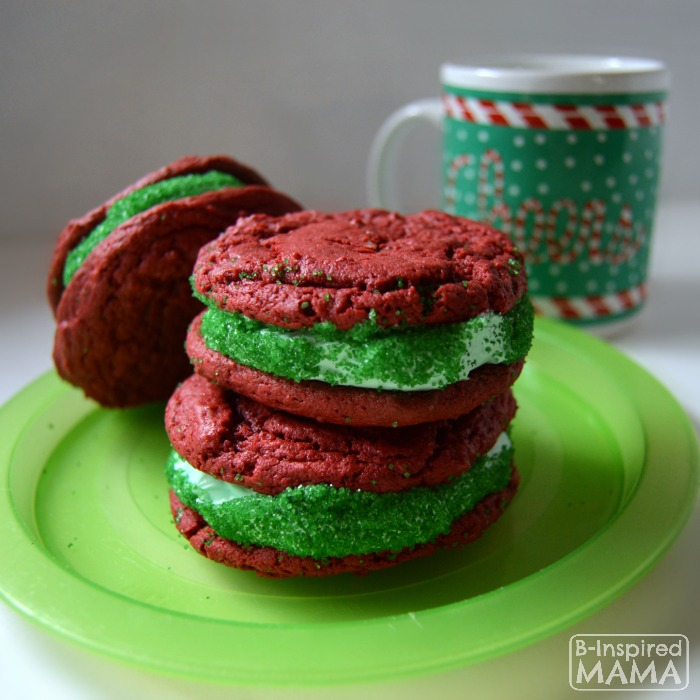 Easy Red Velvet Cake Mix Cookies for making festive Christmas Cookie Sandwiches - Perfect Holiday Cookies for Santa - at B-Inspired Mama