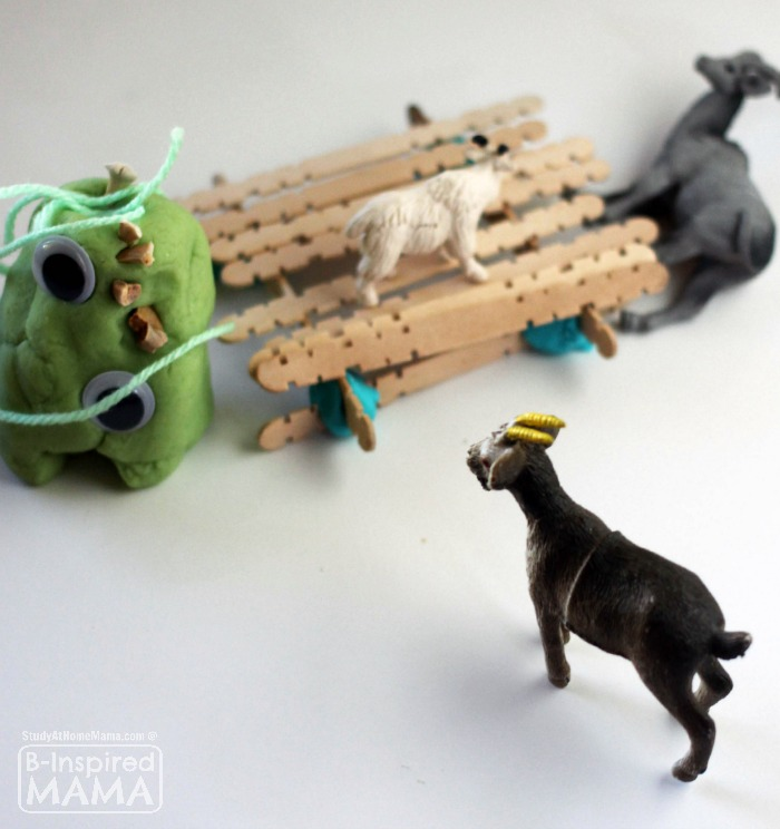 Three Billy Goats Gruff Play Dough Kit for Kids - Goats Crossing the Bridge - at B-Inspired Mama