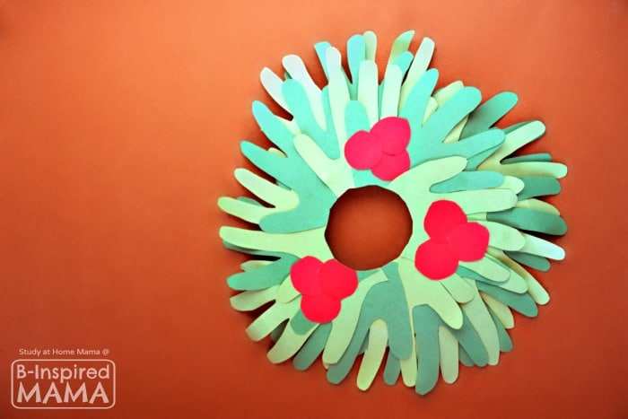 Kids Handprint Wreath Christmas Craft - at B-Inspired Mama