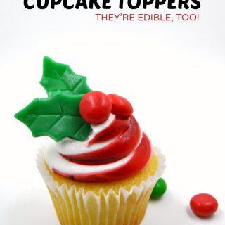 Make Holiday Holly Cupcake Toppers for Christmas Cupcakes - at B-Inspired Mama