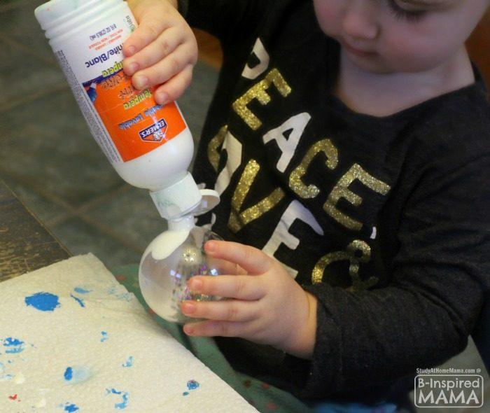 Pour Painted Homemade Christmas Ornaments - So Simple Even a Toddler Can Make Them - at B-Inspired Mama