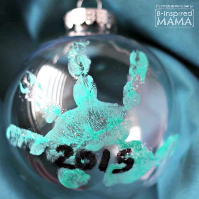 Sweet Homemade Baby's Handprint Ornament for Christmas - at B-Inspired Mama