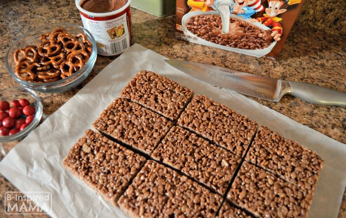 Triple Chocolate Rice Krispies Treats - Cutting the Treats - at B-Inspired Mama