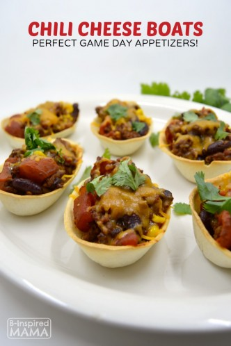 Chili Cheese Boats Appetizers + Family Game Day Party Ideas - at B-Inspired Mama