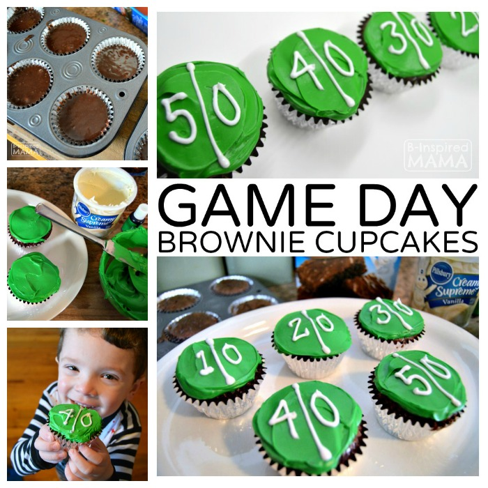 Football Game Day Brownie Cupcakes - at B-Inspired Mama