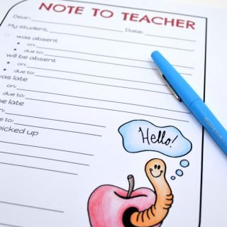 Free Printable Note to Teacher - Making Communication with Your Childs Teacher Easier