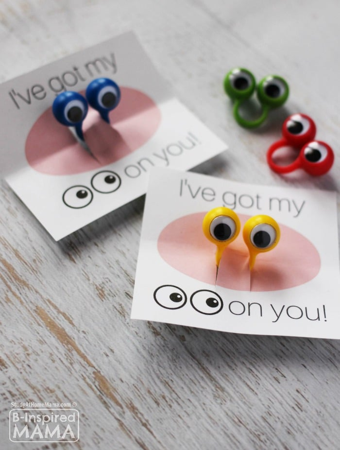 I've Got my Eyes on You Valentine - with FREE Valentines Printables - at B-Inspired Mama