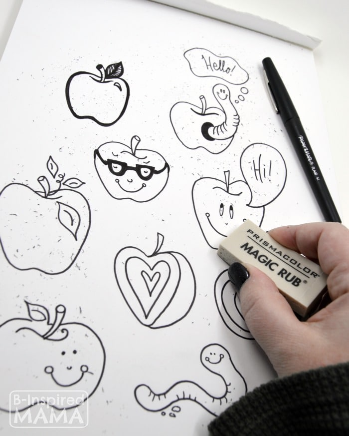 Sketching Apples - Erasing Pencil Marks + A Free Printable Note to Teacher from B-Inspired Mama