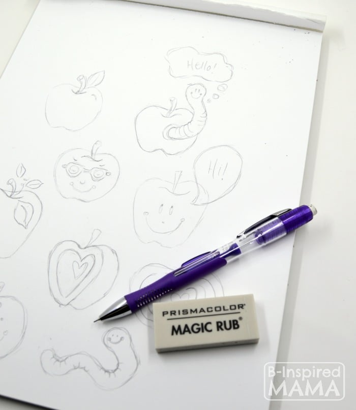 Sketching Apples - My Favorite Eraser + A Free Printable Note to Teacher from B-Inspired Mama