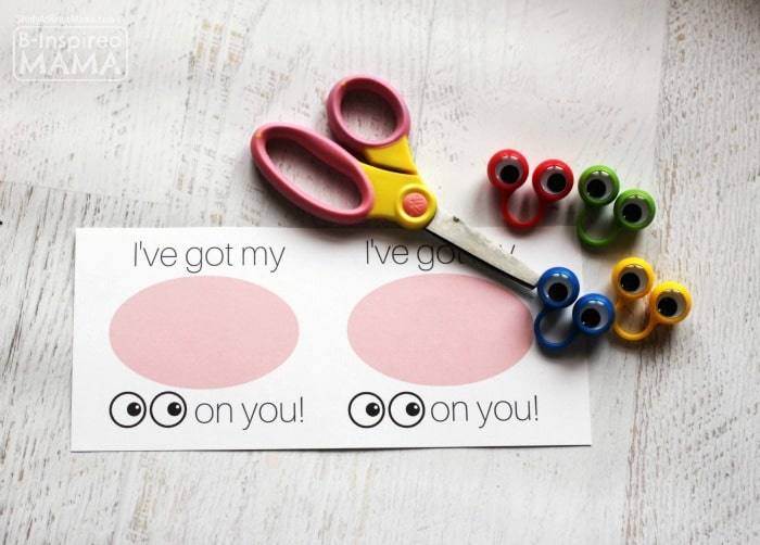 Supplies for the I've Got my Eyes on You Valentine - with FREE Valentines Printables - at B-Inspired Mama