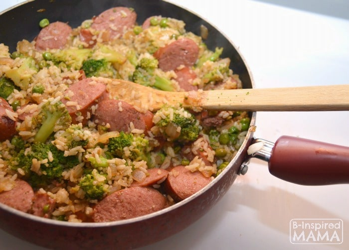Anhything Goes Sausage and Rice Skillet Meal - An Easy One Pan Dinner - at B-Inspired Mama