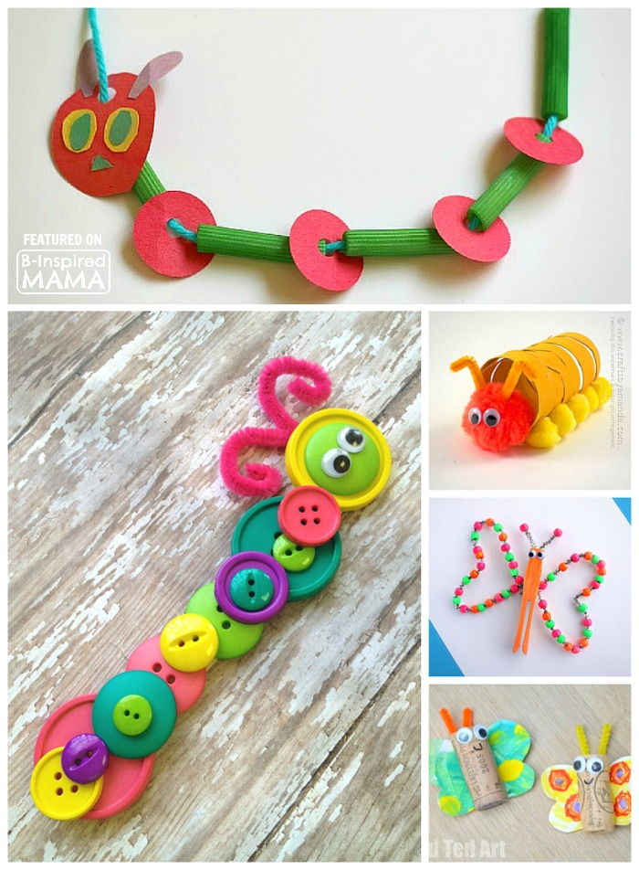 25 Creative and Cute Caterpillar and Butterfly Crafts for Kids - Perfect Spring Preschool Themed Crafts - at B-Inspired Mama