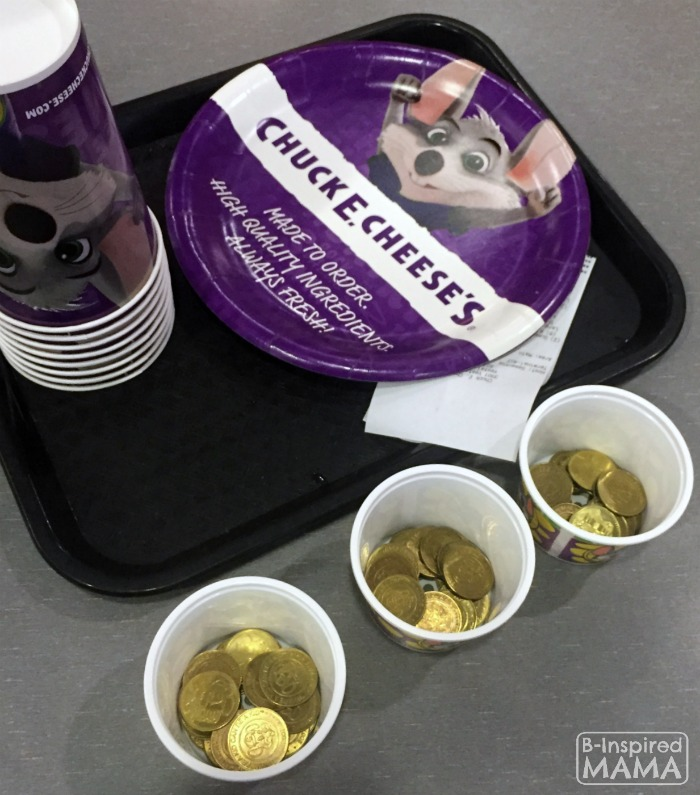9 Tricks for a Stress-Free Chuck E Cheese's Trip - Dividing Up Tokens - at B-Inspired Mama