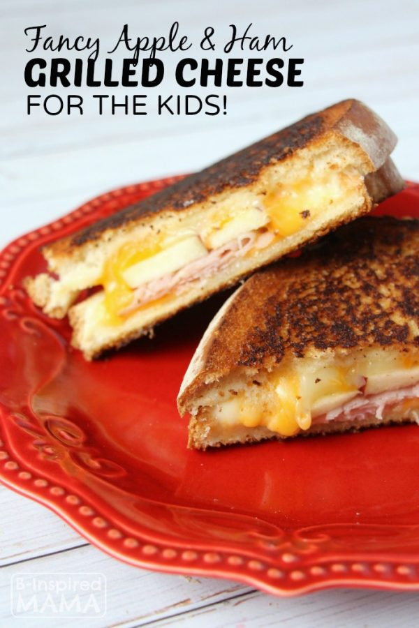 Apple and Ham Grilled Cheese Sandwich - A Fancy Grilled Cheese for the Kids - at B-Inspired Mama