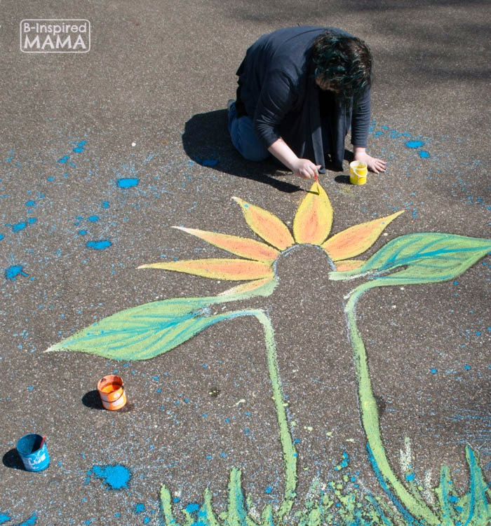 Flower Child Sidewalk Chalk Art - Painting with Sidewalk Chalk Paint - at B-Inspired Mama