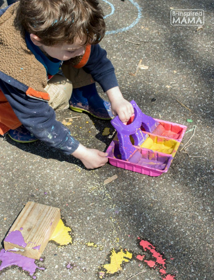 Flower Child Sidewalk Chalk Art - JC Trying Out the Roseart Glitter Rainbow Roller - at B-Inspired Mama