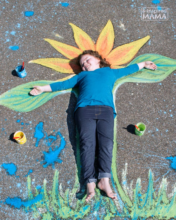 Flower Child Sidewalk Chalk Art - With RoseArt Sidewalk Chalk Paint - at B-Inspired Mama