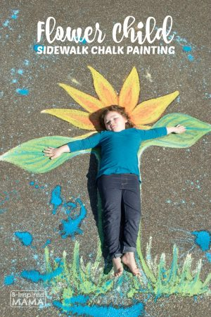 Flower Child Sidewalk Chalk Art - A Beautiful Summer Photo Op - at B-Inspired Mama