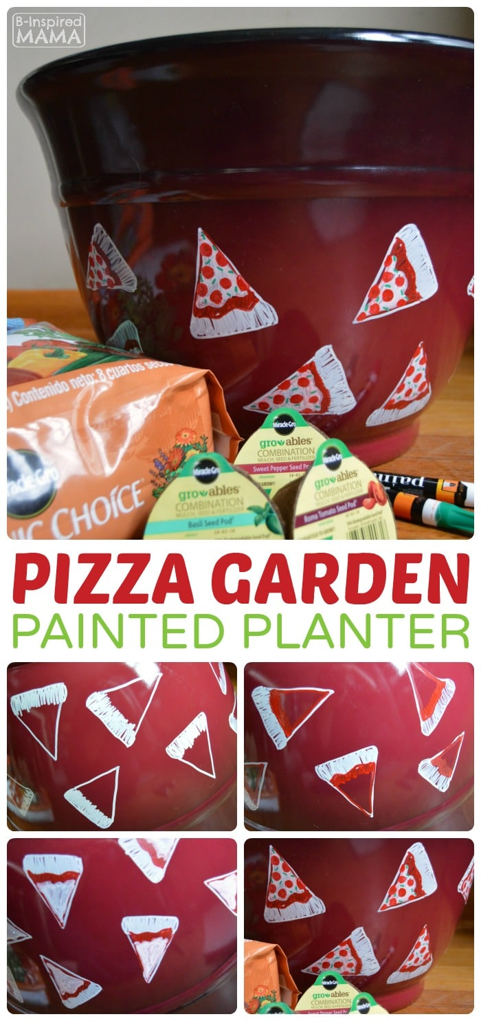 Planting a Pizza Garden in a DIY Pizza Garden Planter - A Fun Garden Craft - at B-Inspired Mama