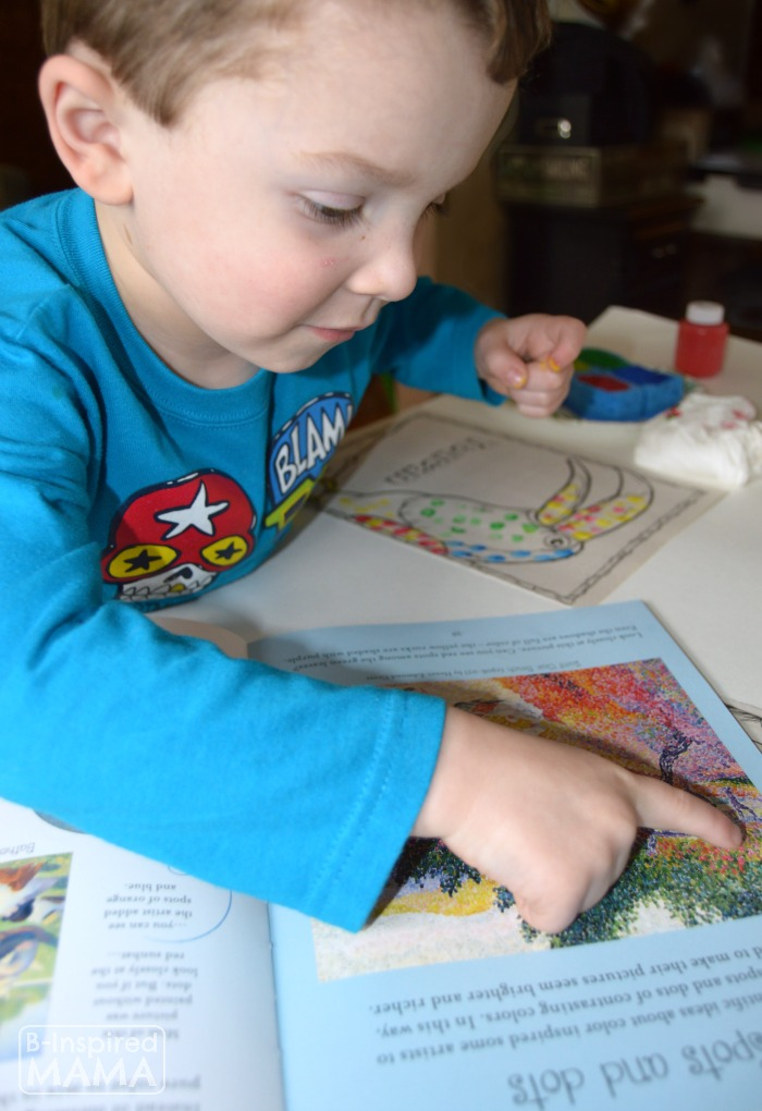 Exploring Famous Artists from Art History - George Seurat - with a Fingerprint Pointillism Painting for Kids - at B-Inspired Mama