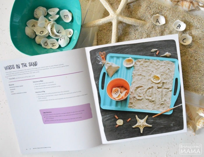Learning the Alphabet with Seashells and Sand Sensory Writing - Inspired by the Book 100 Fun and Easy Learning Games - at B-Inspired Mama