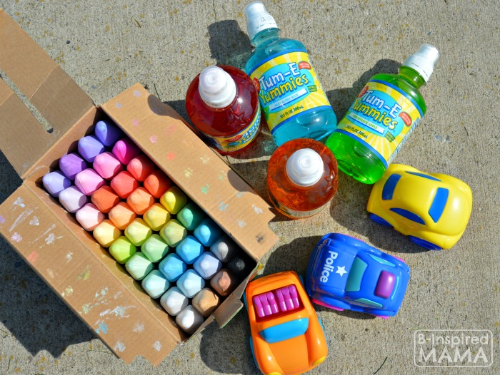 Sidewalk Chalk Art for Kids to PLAY In - A Sidewalk Chalk Town + Our Supplies - at B-Inspired Mama