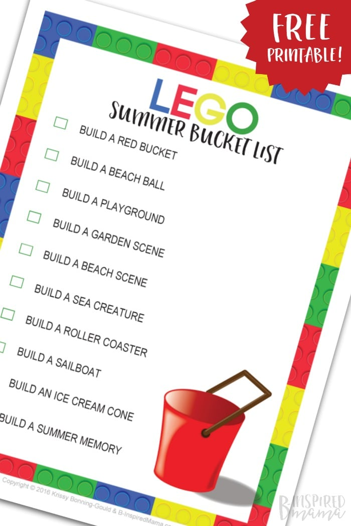 A FREE LEGO Summer Bucket List Printable - full of summer themed LEGO building ideas - to keep the summer I'M BOREDs away - from B-Inspired Mama