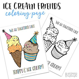 Happy Ice Cream Coloring Page - We go together like happy and ice cream - A Free Printable Coloring Page for Kids from B-Inspired Mama